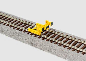 PerfectTrains Moderne sporstopper type 2 med centralkoblingspuffer gul